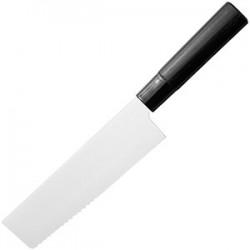 Нож кухонный «Накири»; сталь нерж., дерево; H=295, L=165, B=45мм; , черный