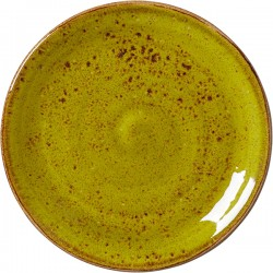 Тарелка пирожковая «Крафт Эппл»; фарфор; D=15, H=2см; желто-зел.
