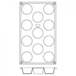 Форма кондитерская «Круг» мини-маффин 11 ячеек; силикон; D=50, H=28, L=295, B=175мм;