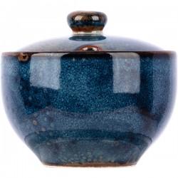 Сахарница с крышкой «Ирис»; фарфор; 200мл; D=91, H=60мм; голуб.