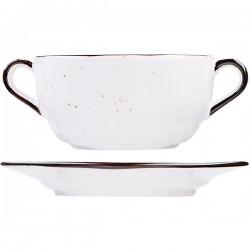 Бульонная чашка с ручками Пастораль серая