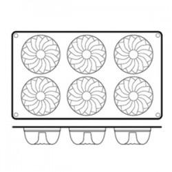 Форма кондитерская «Цветок» 6ячеек; силикон; D=70, H=36, L=295, B=175мм;