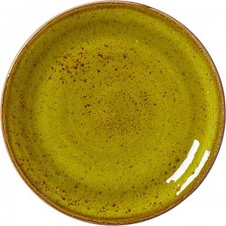 Тарелка мелкая «Крафт Эппл»; фарфор; D=20, H=2см; желто-зел.