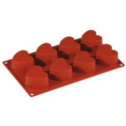 Форма кондитерская «Сердечки» 6. 5*6см 8 ячеек; силикон; H=35, L=295, B=175мм;